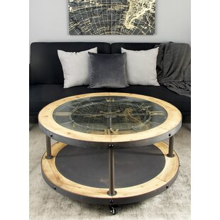 Lovely Metal And Wood Clock Coffee Table