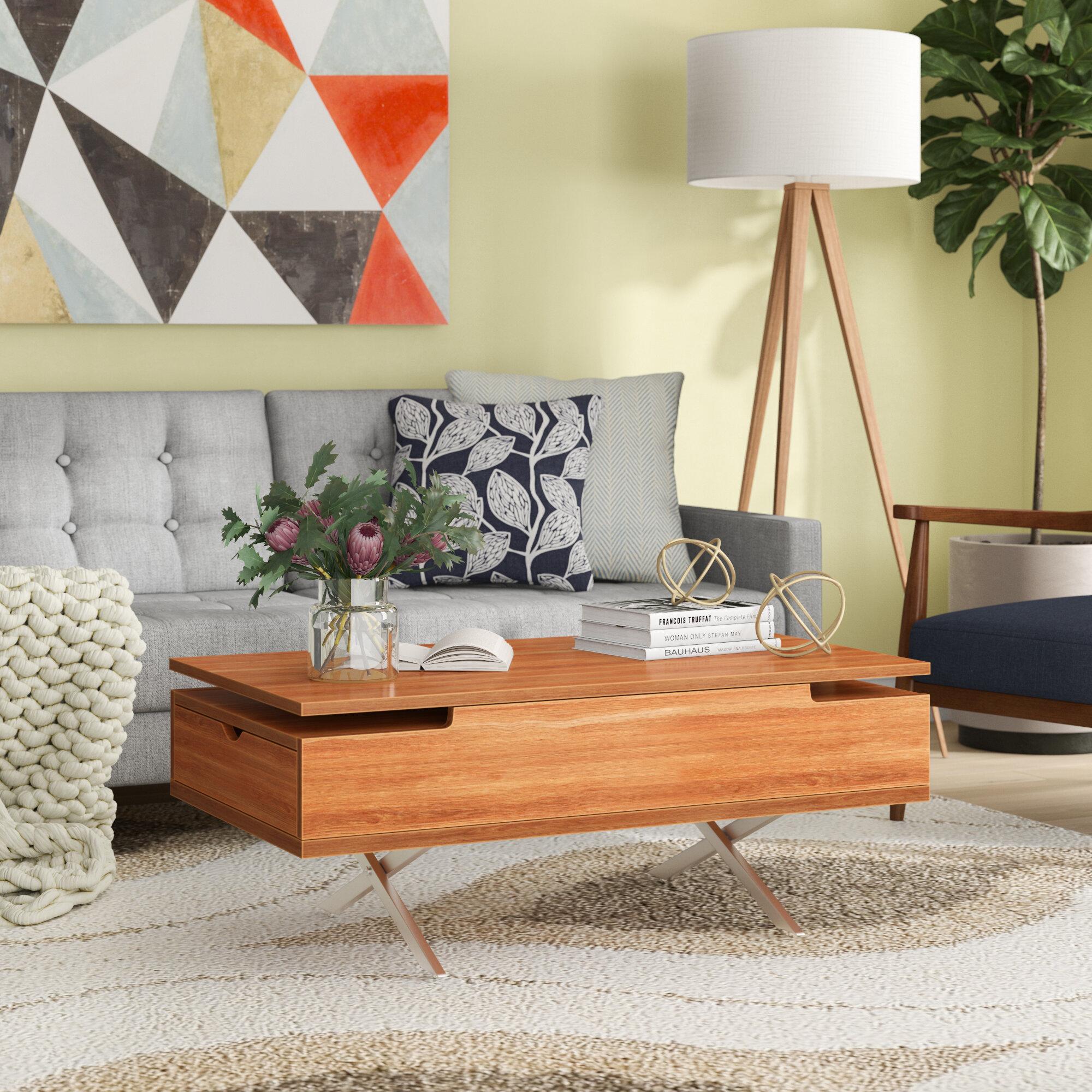 Denson Melamine Veneer Wood Hidden Storage Lift Top Coffee Table