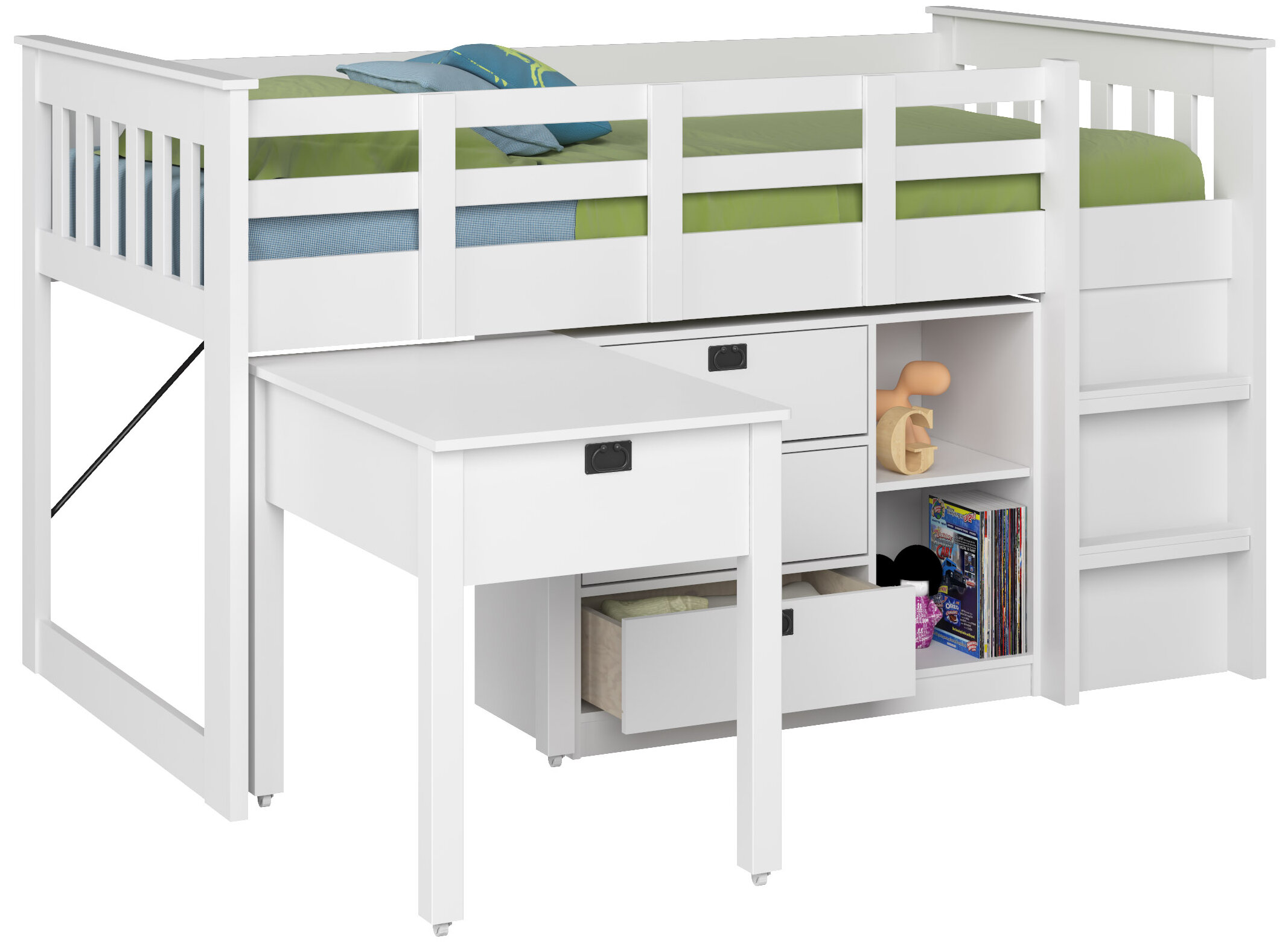 Angelica Twin Low Loft Bed With Storage And Bookcase Reviews Allmodern