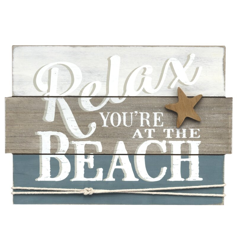Prinz Water\'s Edge \'Relax You\'re at the Beach\' Plank Wood Wall Décor ...