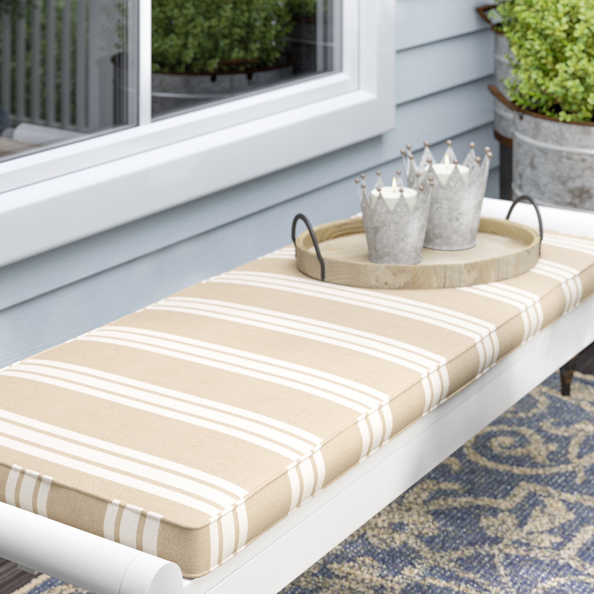 Etonnant Macon Piped Indoor/Outdoor Sunbrella Bench Cushion