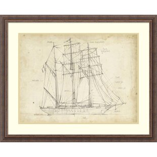 Framed boat blueprints wayfair sailboat blueprint i framed graphic art print on wood malvernweather