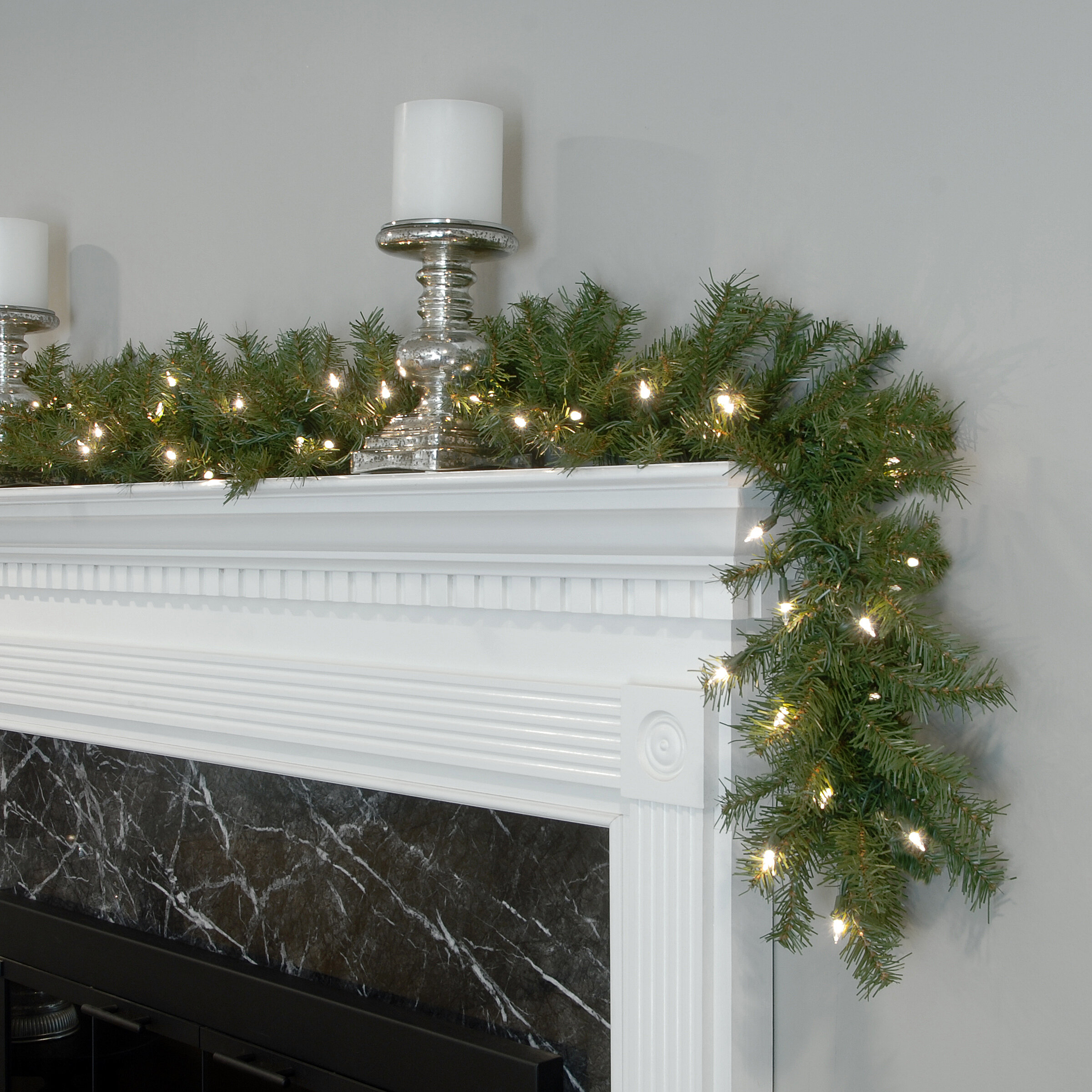 Three Posts Pre Lit Garland with 50