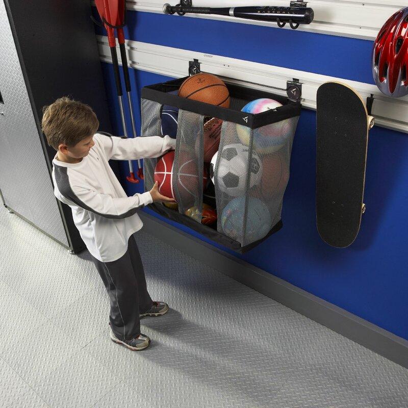 "Garage Sports Organizer: 24"" W Ball Caddy Garage Storage Wall Mounted Sports Rack"