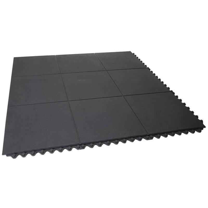 Rubber Garage Floor Mats >> Heavy Duty Solid Rubber Garage Flooring Tiles In Black