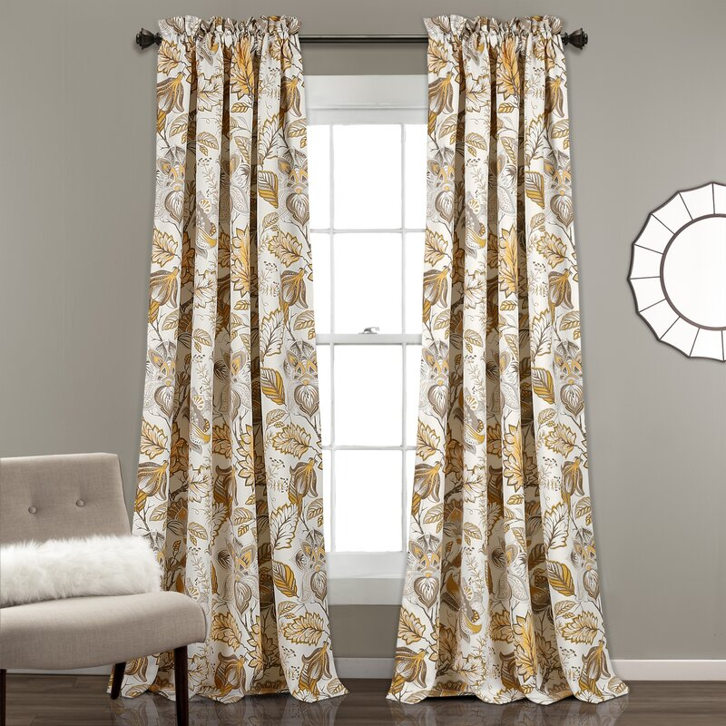 Morristown Nature Fl Room Darkening Thermal Rod Pocket Curtain Panels