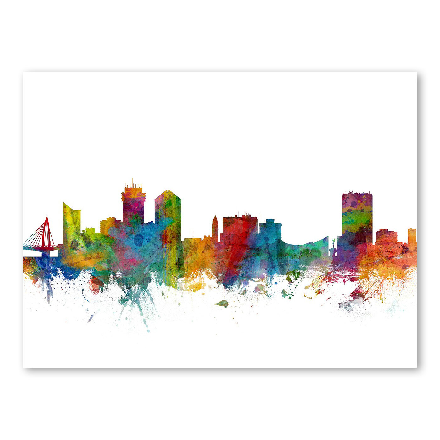Ebern Designs Lanna Wichita Kansas Skyline Wall Mural