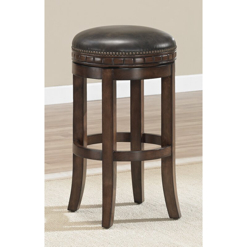 "Darby Home Co Bulwell 26"" Swivel Solid Wood Bar Stool"