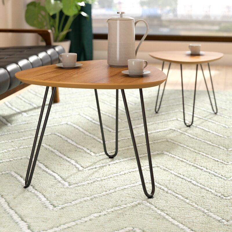 Bon Labarge Hairpin Leg Wood 2 Piece Coffee Table Set