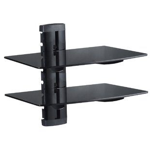 Two DVD Support Glass Wall Shelf