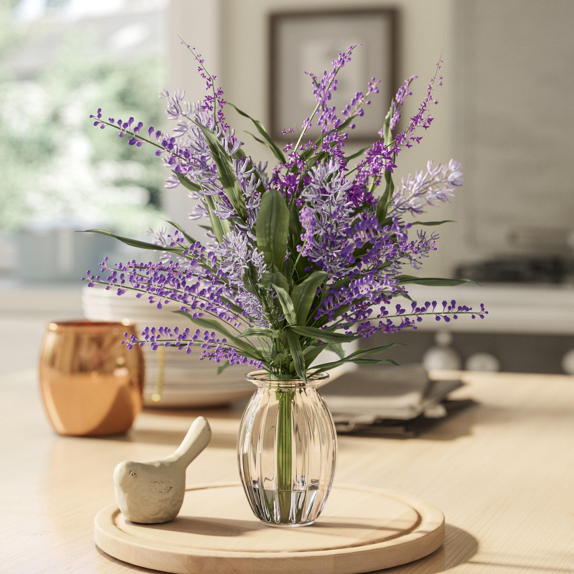 Laurel Foundry Modern Farmhouse Lavender Plant Floral Arrangement In Decorative Vase Reviews