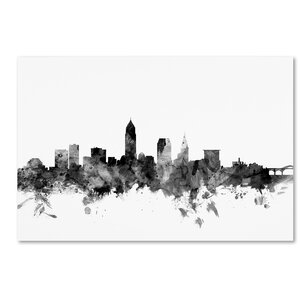 Cleveland Ohio Skyline B&W Graphic Art on Wrapped Canvas
