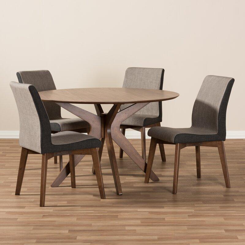 Wholesale Interiors Kimberly Mid-Century Modern Wood Round 5 Piece Dining Set | Wayfair