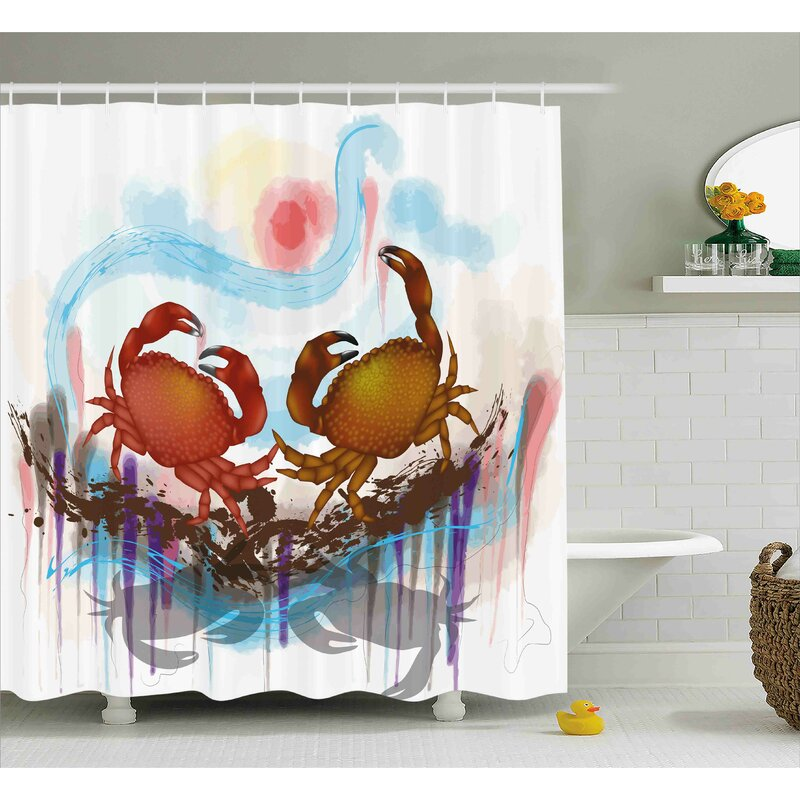 Buffalo Sea Animals Theme Two Crabs Dancing On Abstract Grunge Background Print Shower Curtain