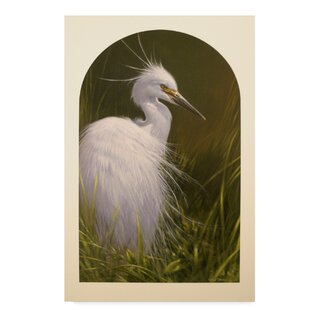 White Egret Acrylic Painting Print On Wrapped Canvas