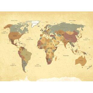 Vintage world map wayfair vintage world map graphic art print on wood gumiabroncs Choice Image