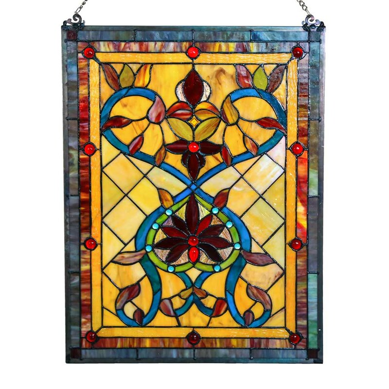 Firey Hearts And Flowers Tiffany Style Stained Glass Window Panel