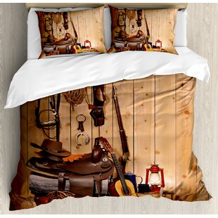 Merveilleux Western American Texas Style Country Music Guitar Cowboy Boots USA Folk  Culture Duvet Cover Set