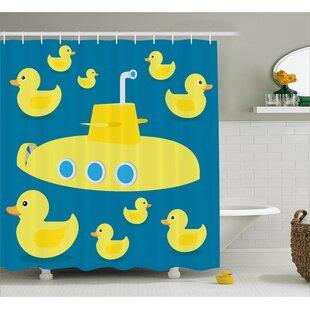Stephen Duck Yellow Submarine Single Shower Curtain