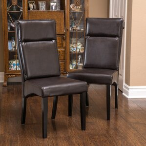Clancy Genuine Leather Upholstered Dining Chair (Set of 2) by Home Loft Concepts