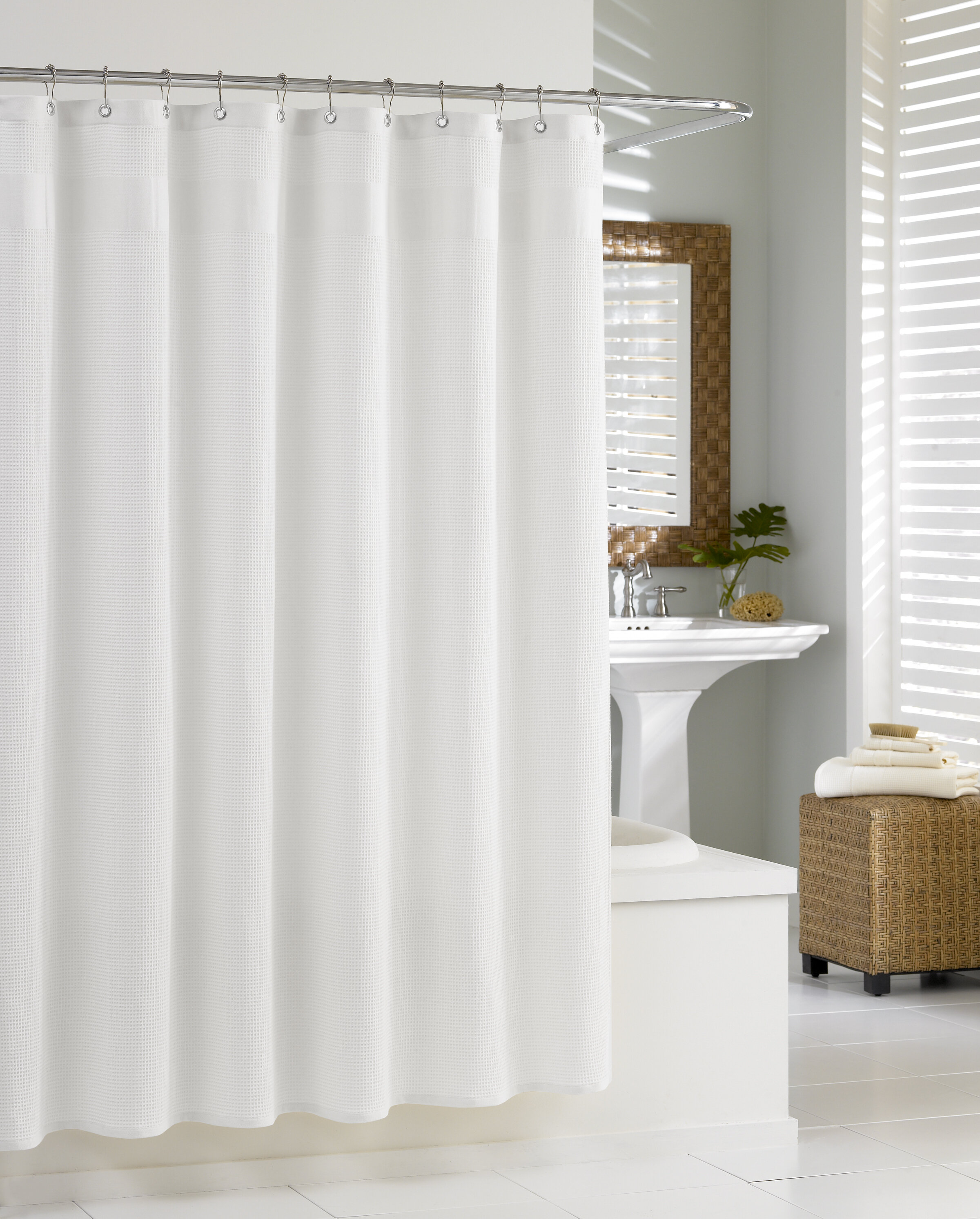 Kassatex Waffle Cotton Single Shower Curtain Reviews