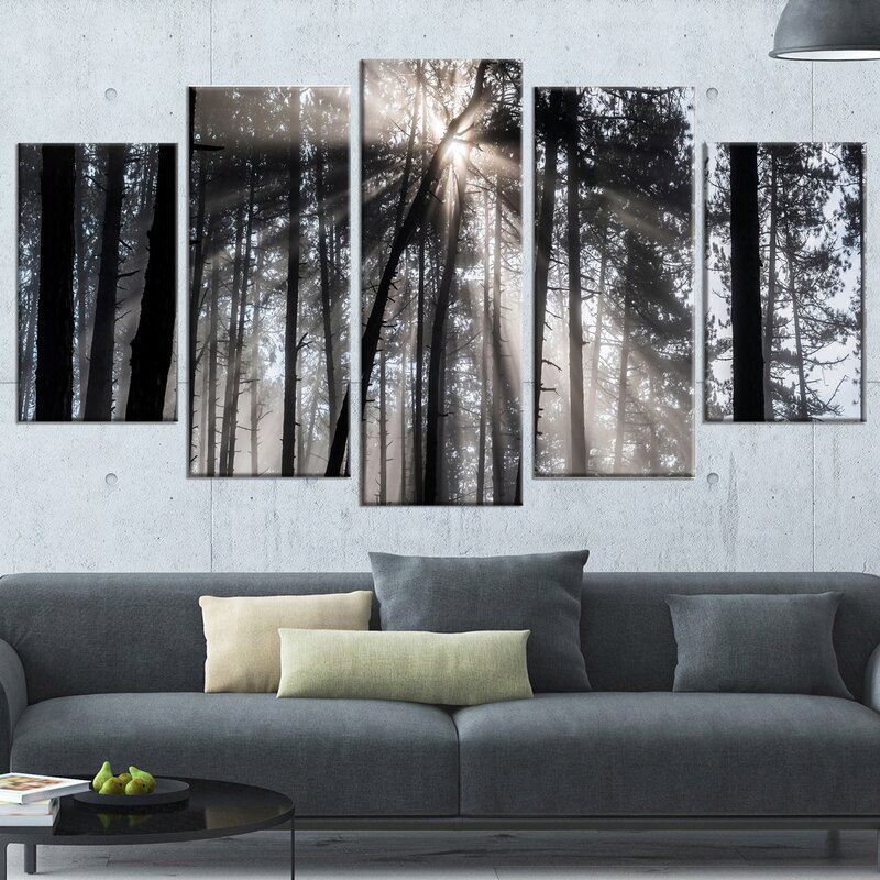 U0027Sunbeams Through Black White Forestu0027 5 Piece Wall Art On Wrapped Canvas  Set. U0027