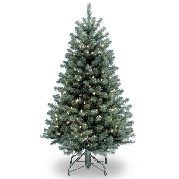 national tree co north valley blue spruce artificial christmas tree with clear lights with stand reviews wayfair - Blue Spruce Artificial Christmas Tree