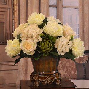 Elegant Peony and Rose Peonies Centerpiece in Vase