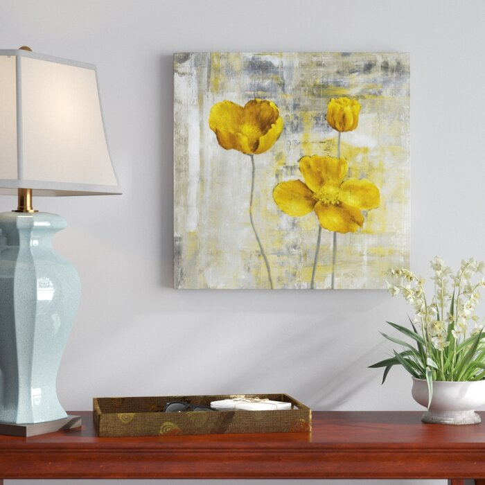 Three Posts Yellow Flowers Ii Painting Print On Canvas Reviews