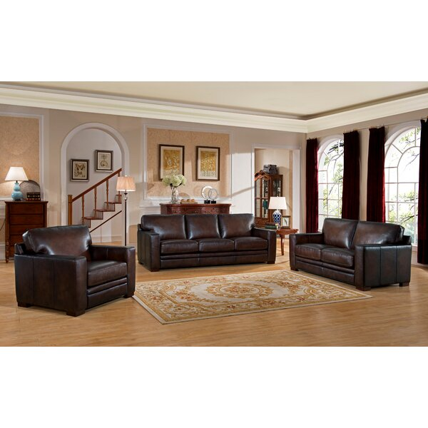 appealing traditional leather living room set | World Menagerie Mcdonald Traditional Leather 3 Piece ...