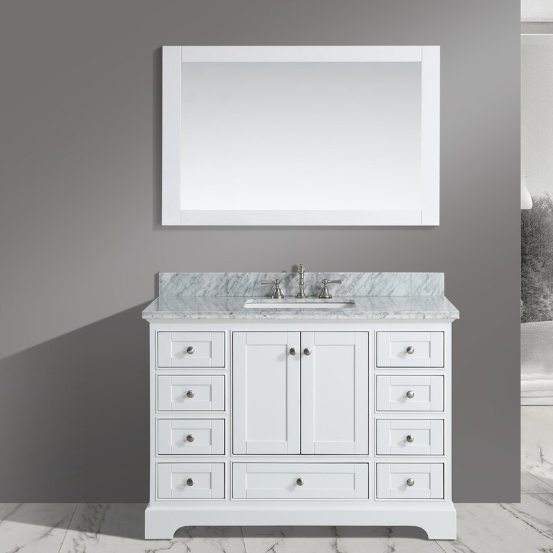 jocelyn 48 bathroom sink vanity set with mirror - Bathroom Sink And Mirror