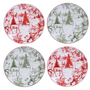 Shire Toile 9  Dessert Plate (Set of 4)  sc 1 st  Wayfair & Red Toile Dishes | Wayfair