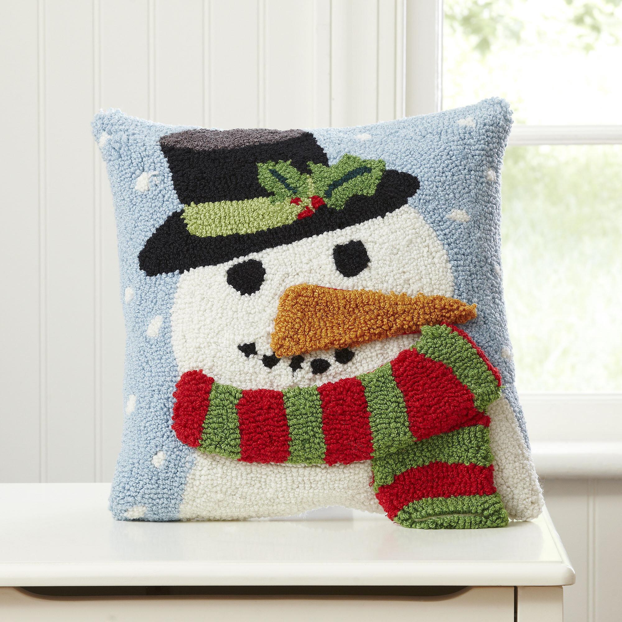 The Holiday Aisle Johson Snowman Huggable Hooked Pillow Reviews Wayfair