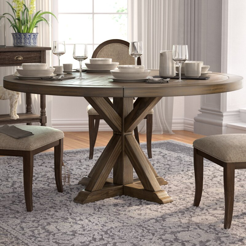 One Allium Way Armancourt Reclaimed Wood Round Dining Table Wayfair