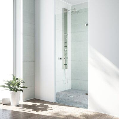 VIGO Tempo 26.5 x 70.63 Hinged Frameless Shower Door with MagnaLock™ Technology Finish: Brushed Stainless Steel