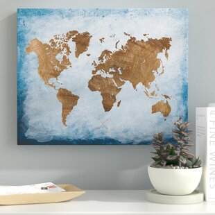 World map wall art washy world map oil painting print on wrapped canvas gumiabroncs Choice Image