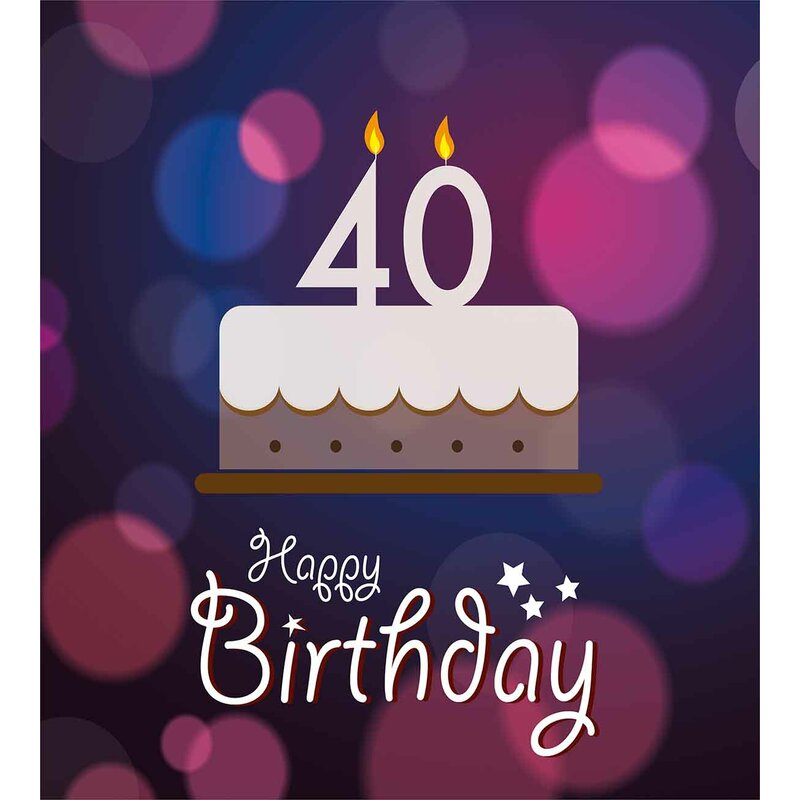 40th Birthday Decorations Big Dots And Graphic Cake Candles Hand Writing Stars Duvet Cover Set