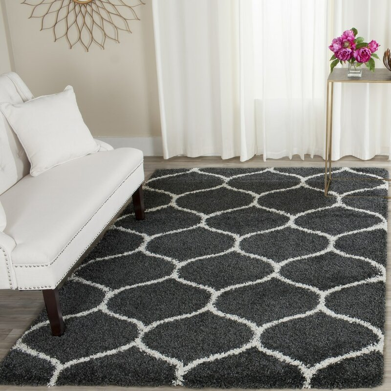 Brayden Studio Hampstead Shag Dark Gray Ivory Area Rug
