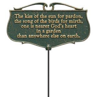 Flora Fauna Kiss Of The Sun Poem Garden Sign