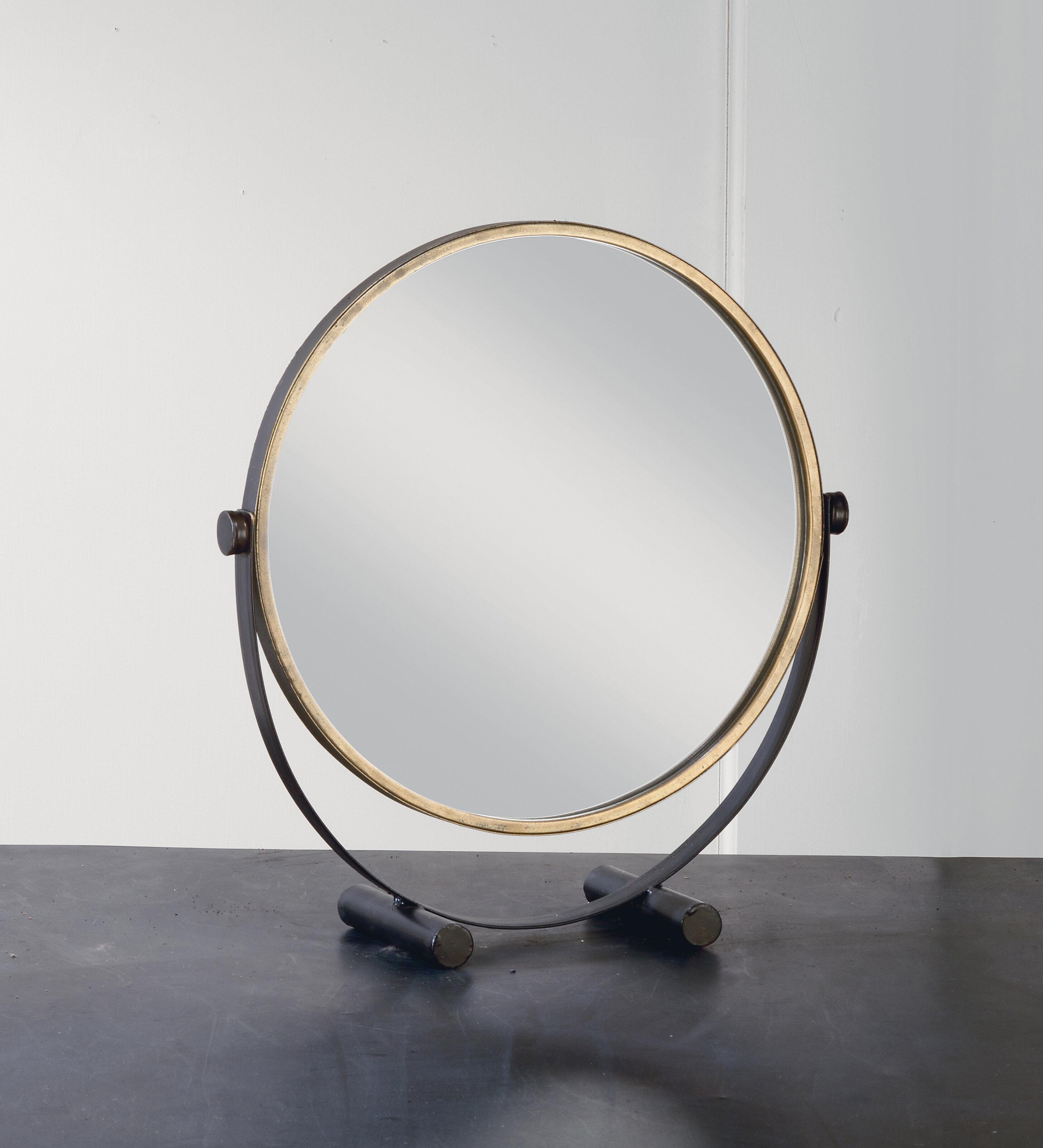 Hein Round Adjustable Rustic Makeup Mirror