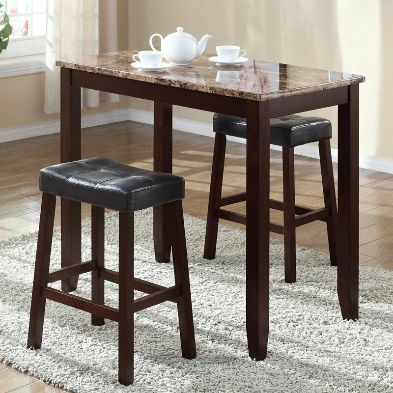 Daisy 3 Piece Counter Height Pub Table Set & Andover Mills Daisy 3 Piece Counter Height Pub Table Set u0026 Reviews ...