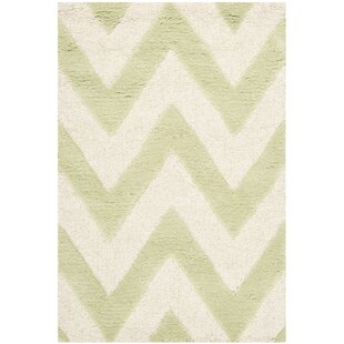 Ato Textured Hand Tufted Wool Light Green/Ivory Rug by Longweave