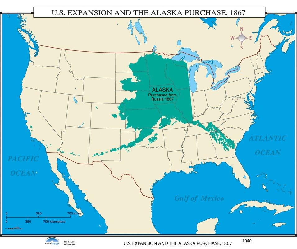 Universal Map US History Wall Maps US Expansion Alaska - Map of alaska and us