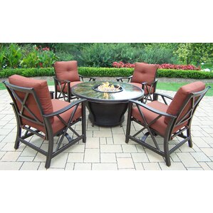 Moonlight 5 Piece Fire Pit Seating Group With Cushions