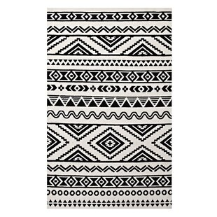 Exceptional Shaun Geometric Moroccan Tribal Black/White Area Rug