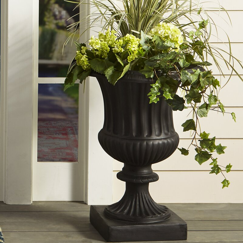 Amedeo Design Classic Ribbed Resin Stone Urn Planter