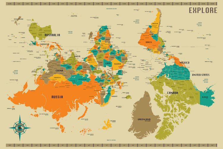 Street World Map.Langley Street Upside Down New World Map Graphic Art On Wrapped