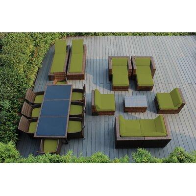 Orren Ellis Baty 20 Piece Complete Patio Set with SUNBRELLA Cushions Cushion Color: Sunbrella Macaw, Frame Finish: Mixed Brown