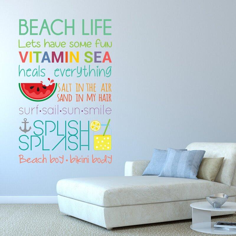Ebern Designs Beach Quotes Wall Decal Reviews Wayfair - Wall decals beach quotes