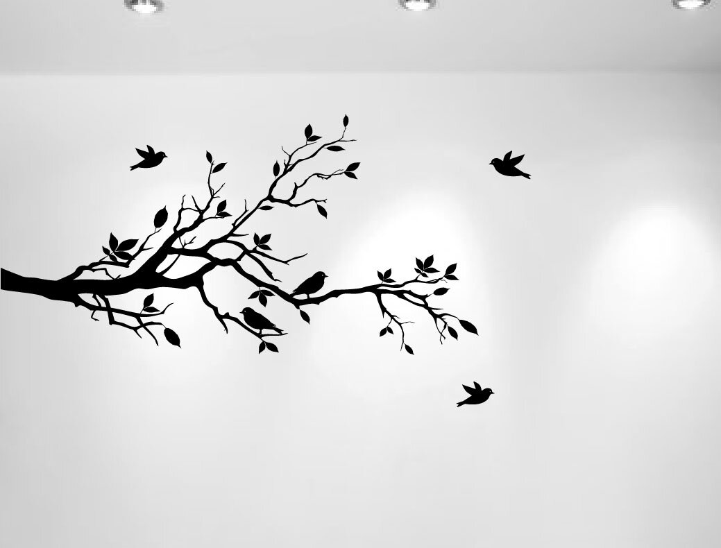 Innovative stencils tree branches with leaves and love birds tree branches with leaves and love birds nursery wall decal amipublicfo Gallery